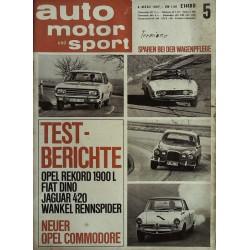 auto motor & sport Heft 5 / 4 März 1967 - Testberichte