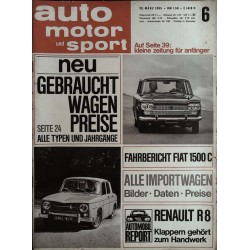 auto motor & sport Heft 6 / 20 März 1965 - Fiat 1500 C & Renault R8