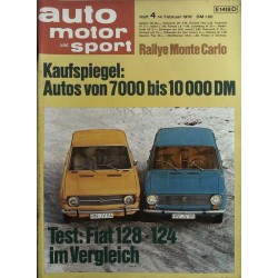 auto motor & sport Heft 4 / 14 Februar 1970 - Test Fiat 128 & 124