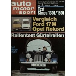 auto motor & sport Heft 10 / 9 Mai 1970 - Test Morgan Plus 8