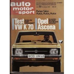 auto motor & sport Heft 22 / 24 Okt. 1970 - Test VW K 70