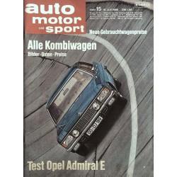 auto motor & sport Heft 15 / 19 Juli 1969 - Opel Admiral E