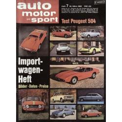 auto motor & sport Heft 7 / 29 März 1969 - Importwagen