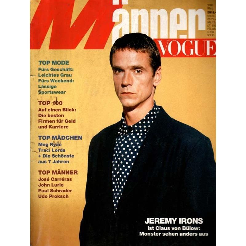 Männer Vogue 3/März 1990 - Jeremy Irons