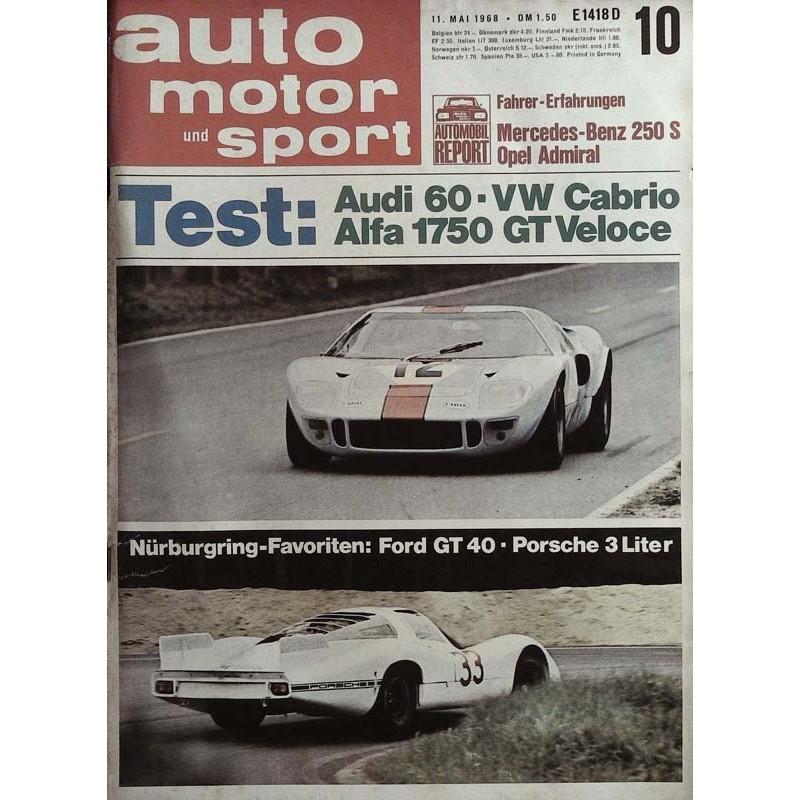 auto motor & sport Heft 10 / 11 Mai 1968 - Ford GT 40 vs Porsche